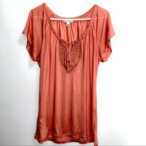 Banana Republic peachy orange top sz M 177B3
